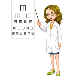 Eye doctor pointing at the chart vector