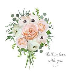 Flower floral bouquet of garden pink rose vector
