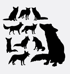 Fox wild animal silhouettes vector