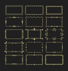 golden rectangle frames and borders emblem set vector image