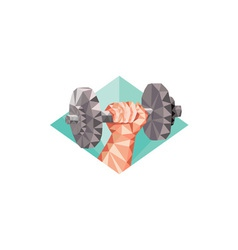 Hand lifting dumbbell low polygon vector