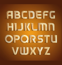isolated geometric wood texture font 3d wooden vector image