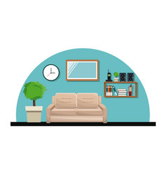 Living room sofa pot tree clock cabinet book vector
