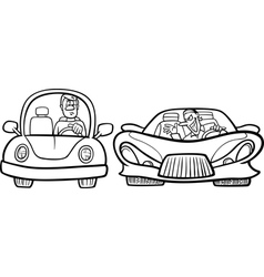 Malicious driver cartoon coloring page vector