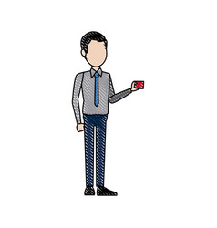 Man character standing holding card image vector