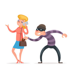mask criminal male thief stealing purse from vector image