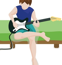 Playing a guitar vector image vector image