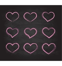 Retro scribble grunge chalk heart symbols vector