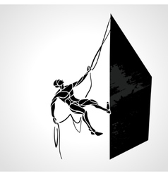 Rock climber silhouette vector image