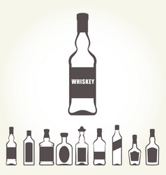 Row of icons of alcohol bottels - booze set vector
