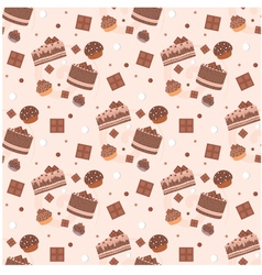 seamless chocolate cakes pattern vector image vector image