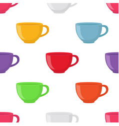 seamless pattern of tea cup vector image