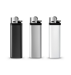 Set of blank black white plastic metal lighters vector