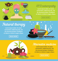 spa care banner horizontal set flat style vector image vector image