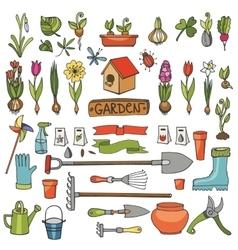 Spring garden doodlesColored flowersbulbsplants vector image vector image