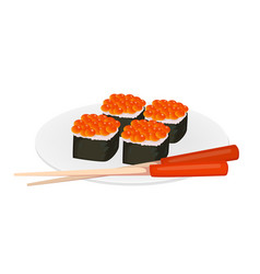 sushi rolls and chopsticks asian food vector image vector image