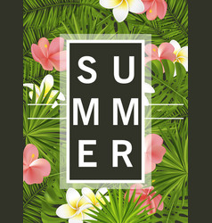 trendy summer card banner poster with tropical vector image vector image