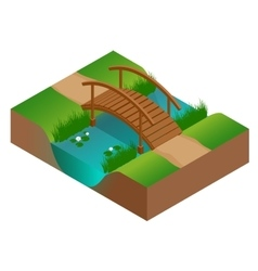 Wooden bridge at the river flat 3d vector