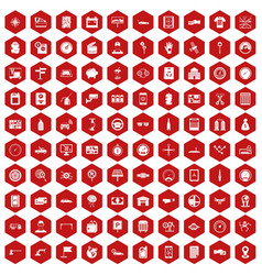 100 auto repair icons hexagon red vector