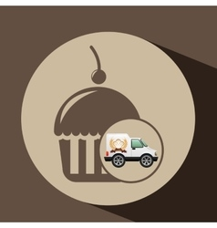 Transport of cupcakes vector