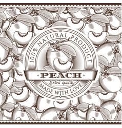 Vintage peach label on seamless pattern vector