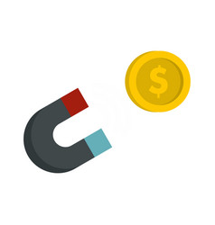 Magnet with coin icon flat style vector
