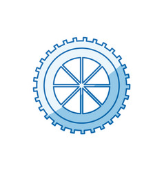 Blue color shading silhouette gear wheel component vector