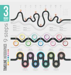 Navigation 9 steps timeline infographic concepts vector