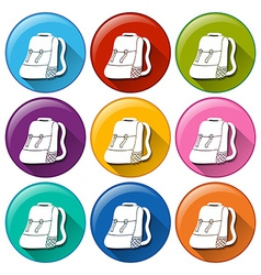 Buttons with camping bags vector
