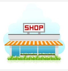 Shop building with green grass vector