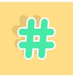 green hashtag icon sticker with shadow vector image