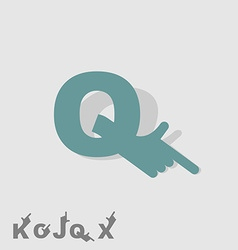 Letter q logo letters with a hand finger pointing vector