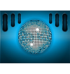 Disco ball over blue brushed metallic panel vector