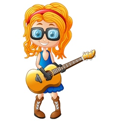 Little girl with a guitar vector