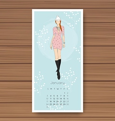 January hand drawn fashion models calendar 2016 vector