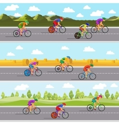 Racing bicyclists on bikes seamless panoramic vector