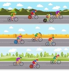Racing bicyclists on bikes Seamless panoramic vector image