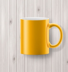 Cup on wonoden backdrop vector