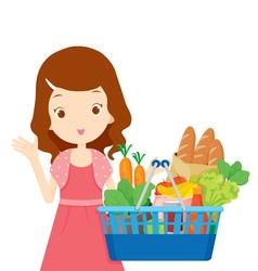 Cute girl holding shopping baskets full of eating vector image