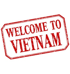 Vietnam - welcome red vintage isolated label vector