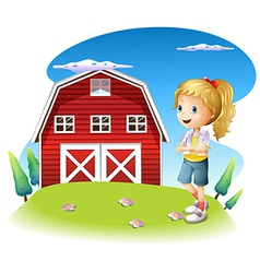 A girl in front of the red barnhouse in the vector