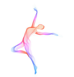 Abstract dancer woman silhouette over white vector