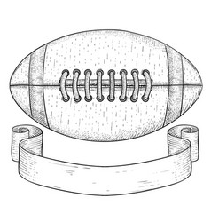 American football ball with ribbon banner hand vector