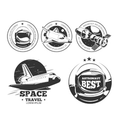 Astronautics labels badges and emblems vector