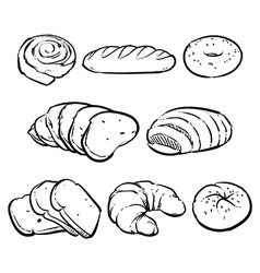 Bakery outline Eco foods Fresh bread vector image