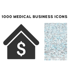 Bank Office Icon with 1000 Medical Business vector image