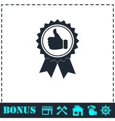 Banner ribbon Thumb up icon flat vector image