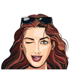 Beautiful girl winking sunglasses vector