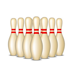 bowling pins with red stripes standing in formatio vector image