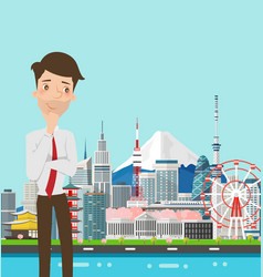 Businessman thinking with japan buildings landmark vector